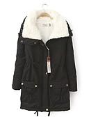olcso Női hosszú kabátok és parkák-V-alakú Női Kabát - Egyszínű Pamut