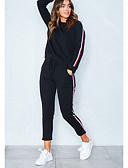 preiswerte Damen Kapuzenpullover & Sweatshirts-Damen Freizeit Baumwolle Kapuzenshirt - Solide, Streife Hose / Winter / Sportlicher Look
