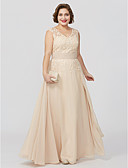 cheap Mother of the Bride Dresses-A-Line Princess V Neck Floor Length Chiffon Sheer Lace Mother of the Bride Dress with Appliques Sash / Ribbon by LAN TING BRIDE®