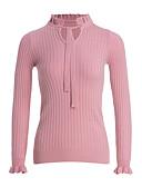 tanie Swetry damskie-Damskie Dekolt w kształcie litery U Pulower - Falbany, Jendolity kolor Długi rękaw / Jesień / Zima