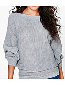 cheap Women's Sweaters-Women's Going out Solid Colored Long Sleeve Long Shrug, Boat Neck Fall Black / Red / Gray L / XL / XXL