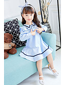 cheap Girls' Dresses-Girl's Birthday Casual/Daily Striped Dress, Cotton Polyester Spring Fall Long Sleeves Simple Cute Blue