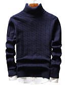 cheap Men's Shirts-Men's Street chic Long Sleeve Pullover - Solid Colored Turtleneck