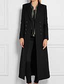 cheap Women's Wool & Wool Blend Coats-Women's Casual / Daily Winter Maxi Coat, Solid Colored Notch Lapel Long Sleeve Cotton / Acrylic Oversized Black L / XL / XXL