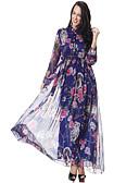 זול שמלות נשים-בגדי ריקוד נשים יום יומי מכנסיים - פרחוני מותניים גבוהים פול / מקסי / צווארון V