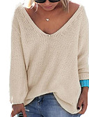 cheap Women's Sweaters-Women's Long Sleeves Pullover - Solid Colored V Neck