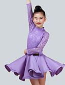 cheap Ballroom Dance Wear-Kids' Dancewear Outfits Performance Nylon Lace Long Sleeves Natural Skirts Top