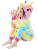 preiswerte Kigurumi Pyjamas-Kinder Kigurumi-Pyjamas Unicorn Fliegendes Pferd Pyjamas-Einteiler Flanell Gelb Cosplay Für Jungen und Mädchen Tiernachtwäsche Karikatur Halloween Fest / Feiertage