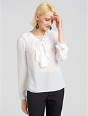 cheap Women's Blouses-Women's Going out Blouse - Solid Colored V Neck / Lace up