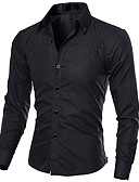 cheap Men's Shirts-Men's Work Street chic Slim Shirt - Solid Colored / Long Sleeve