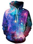 olcso Férfi pólók és pulóverek-Férfi Aktív Extra méret Nadrág - Galaxis / 3D Bíbor / Kapucni / Hosszú ujj / Tavasz / Tél