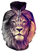 billige Hettegensere og gensere til herrer-Herre Store størrelser Med hette Langermet Hattetrøje - Trykt mønster, 3D / Dyr