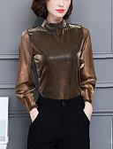 baratos Vestidos para Trabalhar-Mulheres Blusa - Para Noite Moda de Rua Sólido Gola Alta / Primavera / Outono / Transparente