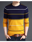cheap Men's Sweaters & Cardigans-Men's Basic Long Sleeve Pullover - Striped, Print Round Neck