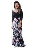baratos Vestidos de Mulher-Mulheres Moda de Rua Solto / Bainha Vestido Sólido / Floral Cintura Alta Longo / Outono / Padrões florais