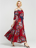 cheap Women's Dresses-Women's Boho / Chinoiserie Cotton Swing Dress - Floral Red, Print High Rise Maxi / Summer