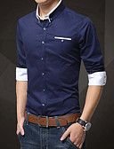 cheap Men's Shirts-Men's Cotton Slim Shirt - Solid Colored Basic Button Down Collar / Long Sleeve