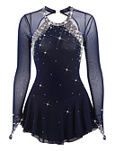 cheap Ice Skating Dresses , Pants & Jackets-Figure Skating Dress Women's / Girls' Ice Skating Dress Dark Blue Spandex Rhinestone High Elasticity Performance Skating Wear Handmade