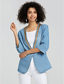 cheap Women's Denim Jackets-Women's Going out Denim Jacket - Solid Colored Shirt Collar