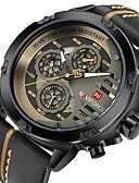 cheap Sport Watches-NAVIFORCE Men's Wrist Watch Quartz Water Resistant / Water Proof Calendar / date / day Casual Watch Genuine Leather Band Analog Casual Fashion Black / Brown - Coffee Black / Gold Red Two Years