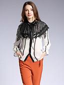 זול שמלות נשים-פרחוני קולור בלוק חולצה - בגדי ריקוד נשים תחרה