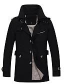 cheap Men's Jackets & Coats-Men's Long Plus Size Cotton Jacket - Solid Colored Shirt Collar