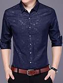 זול חולצות לגברים-אחיד צווארון קלאסי חולצה - בגדי ריקוד גברים דפוס / שרוול ארוך