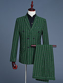 זול טישרטים לגופיות לגברים-אחיד פסים דש קלאסי חליפות-בגדי ריקוד גברים / שרוול ארוך