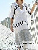 cheap Women's Swimwear & Bikinis-Women's Plunging Neck White Cover-Up Swimwear - Striped One-Size