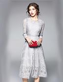 baratos Vestidos Femininos-Mulheres Trabalho Delgado Evasê Vestido Sólido Estampa Colorida Longo