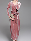 זול שמלות נשים-בגדי ריקוד נשים יום יומי מכנסיים - אחיד ורוד מסמיק / מקסי / צווארון V