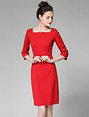baratos Vestidos de Mulher-Mulheres Trabalho Bainha Vestido Sólido Decote Quadrado Cintura Alta