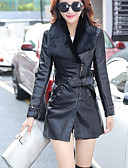 cheap Men's Polos-Women's Going out Street chic Leather Jacket - Solid Colored Peter Pan Collar / Fall / Winter / Fur Trim