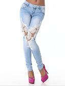 זול מכנסיים ושורטים לגברים-בגדי ריקוד נשים פעיל כותנה ג'ינסים מכנסיים - אחיד תחרה כחול בהיר / ליציאה