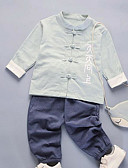 preiswerte Kleidersets für Mädchen-Jungen Kleidungs Set Alltag Solide Polyester Frühling Langarm Freizeit Grün Rote Rosa