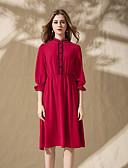 זול שמלות נשים-עומד חרוזים, אחיד - שמלה משוחרר בגדי ריקוד נשים