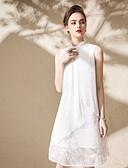 baratos Vestidos Femininos-Mulheres Moda de Rua Solto Vestido - Fenda, Sólido Colarinho Chinês Acima do Joelho