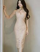 tanie Sukienki-Damskie Wyjściowe Bawełna Szczupła Bodycon / Pochwa Sukienka - Solidne kolory Półgolf Nad kolano