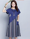 cheap Girls' Dresses-Women's Plus Size Chinoiserie Cotton Loose Loose Dress - Striped Print / Fall