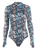 cheap Women's Dresses-Women's Going out Sophisticated Crew Neck Blue Slim Bodysuit, Snakeskin Print S M L Long Sleeve Spring Fall