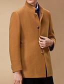 זול גברים-ג'קטים ומעילים-אחיד רגיל ארוך מעיל - בגדי ריקוד גברים, גדול כותנה / שרוול ארוך