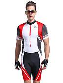 Χαμηλού Κόστους Φορέματα Παρανύμφων-Nuckily Ανδρικά Κοντομάνικο Ολόσωμη στολή για τρίαθλο - Κόκκινο Γεωμτερικό Ποδήλατο Ανατομικός Σχεδιασμός, Υπεριώδης Αντίσταση, Αναπνέει