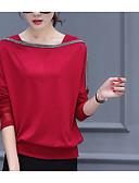 זול שמלות נשים-אחיד משוחרר סגנון רחוב מידות גדולות כותנה, חולצה - בגדי ריקוד נשים שרוול עטלף / סתיו