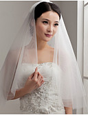cheap Wedding Veils-Two-tier Cut Edge Wedding Veil 53 Ruffles Tulle