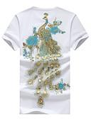 זול טרנינגים וקפוצ'ונים לגברים-צווארון עגול סגנון סיני כותנה, טישרט - בגדי ריקוד גברים דפוס / שרוולים קצרים