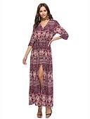 זול שמלות נשים-צווארון V מותניים גבוהים מקסי מפוצל, דפוס - שמלה נדן סווינג בוהו חוף בגדי ריקוד נשים