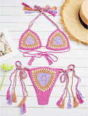 cheap Women's Swimwear & Bikinis-Women's Crochet Crochet / Boho Halter Neck Purple Green Khaki Bikini Swimwear - Print Cotton One-Size / Wireless / Padless