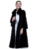abordables Sombreros de mujer-Mujer Abrigo de Piel Escote Chino - Un Color