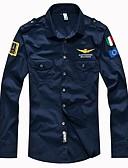 זול חולצות לגברים-אחיד צווארון קלאסי רזה Military חולצה - בגדי ריקוד גברים בסיסי / שרוול ארוך