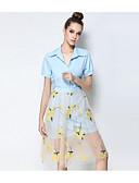 זול שמלות נשים-עומד חצאית דפוס חולצה בגדי ריקוד נשים / סתיו